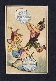 Clark's Mile End Spool Cotton Thread Pixies Victorian Trade Card 1883