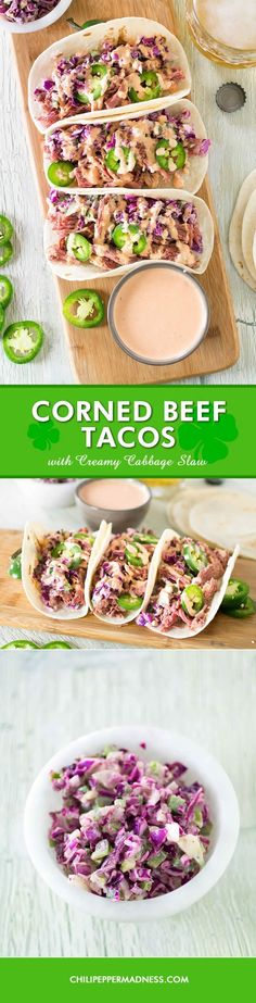 Corned Beef Tacos with Creamy Cabbage Slaw - Celebrate the Irish way with this recipe for shredded corned beef served on warmed flour tortillas, topped with a creamy cabbage-jalapeno slaw and homemade thousand island dressing.