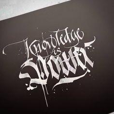 'Knowledge is Power' #calligraphy #calligraphymasters #calligraffiti #handlettering #handwriting #handstyle #freehand #lefthand #lefty #gothic #italic #custom #lettering #paindesignart @handmadefont #tyxca #typematters #typism #typegang #goodtype #artoftype #thedailytype #designspiration #automaticpen #windsorandnewton #pilot #parallelpen