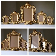 Set of 5 gold ornate baroque picture Frames easel back wedding sign place card shabby chic Hollywood regency