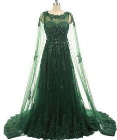 Elegant Women Formal Evening Gowns Dresses Beaded Lace Prom Dresses With  Long Appliques Tulle Cape Emerald Green Evening Dress 0b37b5bf5bb7