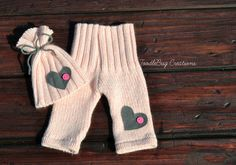 Newborn Photography Set  Upcycled Soft Pink Pants & Hat with Matching Gray Hearst by ToodleBugCreations, $25.00