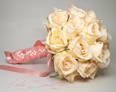 The newest KSY design -  Champagne and Blush Rose Silk Wedding Bouquet by @KateSaidYes, www.katesaidyes.etsy.com