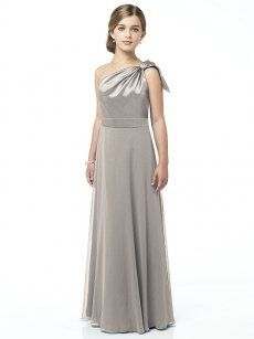 JR514 in Taupe. One shoulder matte satin and lux chiffon full length dress with draped bodice and full skirt. Coordinating dress available.