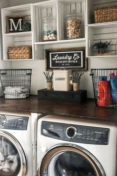 laundry rooms Ready to redecorate your small laundry room in rustic farmhouse style? Below are tips, tricks and PICTURES for your small farmhouse laundry room remodel that are budget-fri Rustic Laundry Rooms, Tiny Laundry Rooms, Laundry Room Remodel, Farmhouse Laundry Room, Laundry Room Organization, Laundry Room Design, Storage Organization, Laundry Nook, Basement Laundry