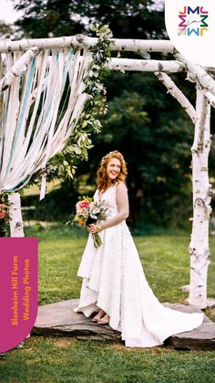 Blenheim Hill Farm wedding photos show a colorful Catskills NY wedding venue. This wedding included a natural wood arbor with whimsical ribbons and bright florals. See more photos on the blog. Wood Arbor, New York Wedding Venues, Farm Wedding Photos, More Photos, Wedding Dresses, Ribbons, Natural Wood, Florals, Whimsical