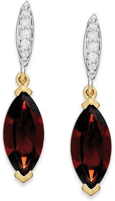Garnet (2-3/4 ct. t.w.) and Diamond Accent Drop Earrings in 14k Gold