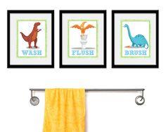 Dinosaur Bathroom Kids Art