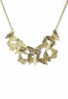 Golden Butterfly Necklace with Cut Out Detail