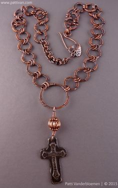 Pewter Cross and Handmade Copper Chain Necklace