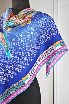 LOUIS VUITTON Silk Scarf  World Map    Square by MRetroBoutique