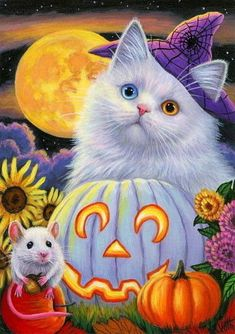 Diamond Painting White Cat and Mouse on Halloween Paint with Diamonds Art Crystal Craft Decor Halloween Moon, Fete Halloween, Halloween Pictures, Holidays Halloween, Happy Halloween, Halloween Decorations, Hello Kitty Halloween, Halloween Wallpaper, Arte Horror