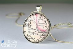 Savannah map jewelry pendant