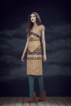 Trumpet Dress in Mix, Large Scarf in Cauliflower.  Available from September 2012.  View the full collection:  http://www.charlottetaylorltd.com/#gallery_18  #charlottetaylor