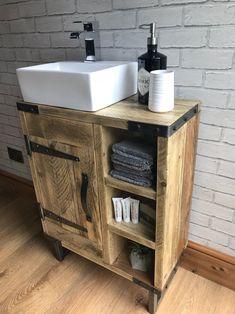 Reclaimed rustic industrial vanity unit with sink Rustic Bathroom Decor, Industrial Bathroom, Rustic Bathrooms, Rustic Industrial, Bathroom Interior Design, Small Bathroom, Bathroom Cupboards, Bathroom Faucets, Rustic Vanity