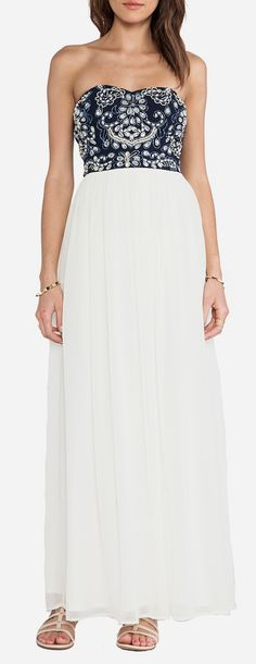 TFNC London Amber Strapless Maxi in Navy & White. Something Blue? For a Bohemian/Laid back wedding! Or even just as a second dress for the reception!