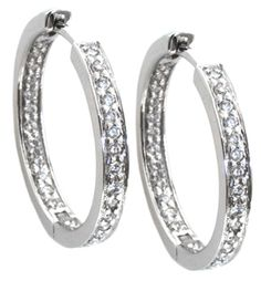 Diamond earrings with 0.64carat total diamond weight in 14kt white gold | Hannoush.com