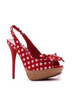 polka dot peep-toe heels