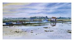 Sunrise At Thornham Creek. Watercolour on Langton Prestige Watercolour Paper. Image size 473 x mount size 593 x Yet another painting of Thornham Creek, this time in watercolours This painting is for sale with the frame as shown. Watercolor Paper, Watercolor Paintings, Watercolours, Private Viewing, Art For Sale, Fresh Water, Sunrise, Drawings, Frame