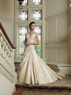 V Neck Ruffle Satin Handmade Beading Gorgeous Wedding Dress