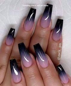 20 einfache schwarze Nail Art Design Ideen # simple NailiDeasTrends Nageldesign 100 Acrylic Nail Designs of May Black Acrylic Nails, Black Nail Art, Summer Acrylic Nails, Best Acrylic Nails, Acrylic Nail Art, Black Ombre Nails, Nail Summer, Black Coffin Nails, Ombre Nail Art