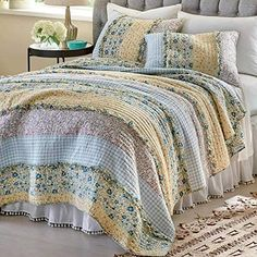 3 Piece Vintage Patchwork Bedspread Throw Quilt Cover Bedding Set with 2 Pillows