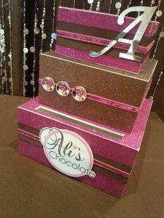 Chocolate Theme #giftbox #cardbox #batmitzvah  www.whimzeyllc.com