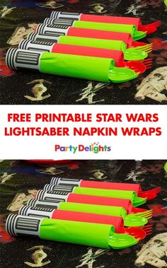 Free Printable Star Wars Lightsaber Napkin Wraps No Star Wars party is complete without these amazin Star Wars Party Decorations, Star Wars Party Games, Theme Star Wars, Star Wars Decor, Birthday Party Decorations, Star Wars Food, Star Wars Kids, Star Wars Baby, Aniversario Star Wars