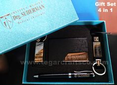 Contains of name card holder, USB flashdrive, pen and keychain that packed in deluxe box that specially made. As shown above, a 4 in 1 gift set ordered by Institut Medika Drg. Business Card Holders, Business Cards, Name Card Holder, 4 In 1, Blue Box, Name Cards, Corporate Gifts, Gift Packaging, Key Chain