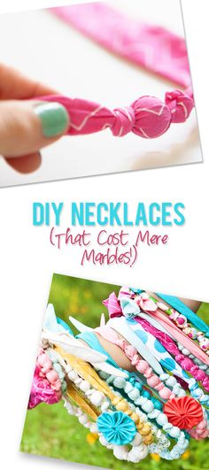 Easy DIY fabric necklaces - made with a bag of marbles from the dollar store.  Great use of scrap fabric!