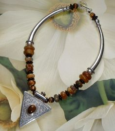 Tiger Eye and Agate Tribal Style Pendant Necklace | GracefulDesigns - Jewelry on ArtFire
