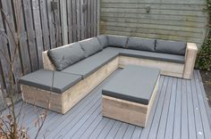 scaffolding wood lounge sofa with open extension. Deck Seating, Backyard Seating, Garden Seating, Outdoor Seating, Diy Furniture Couch, Diy Outdoor Furniture, Pallet Furniture, Garden Furniture, Furniture Plans
