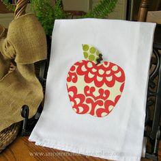 Apple Towel... an appliqued kitchen towel for a teacher gift