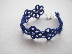 Blue Bracelet lace tatting jewelry beaded daisy chain by tattingblackkitty on Etsy Lace Bracelet, Crochet Necklace, Beaded Bracelets, Tatting Jewelry, Beaded Jewelry, Daisy Chain, Beaded Lace, Handmade Bracelets, Glass Beads