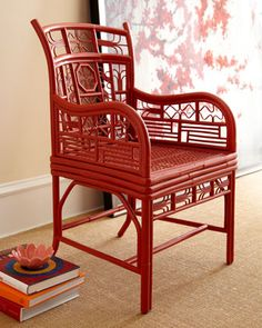 Shop Davinia Rattan-Seat Chair at Horchow, where you'll find new lower shipping on hundreds of home furnishings and gifts. Asian Furniture, Bamboo Furniture, Furniture For You, Painted Furniture, My Living Room, Living Room Chairs, Dining Chairs, Dining Room, Rattan Armchair