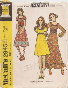 2945 McCalls Hippie elastic bodice dress with round neck & pleated skirt sewing pattern for girls in junior size bust vtg 1970 - Fashion City Pleated Skirt Pattern, Mccalls Sewing Patterns, Vintage Sewing Patterns, Clothing Patterns, Dress Patterns, 60s And 70s Fashion, Vintage Fashion, Retro, Moda Vintage