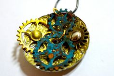 Steampunk necklace gear necklace patina by heavyistheheart on Etsy