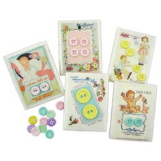 New Arrival Wafer Paper - Vintage Button Card Wafer Paper, Set of 16