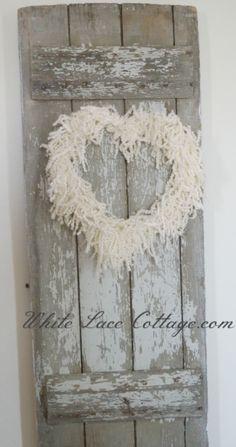 wire, yarn and muslin wreath