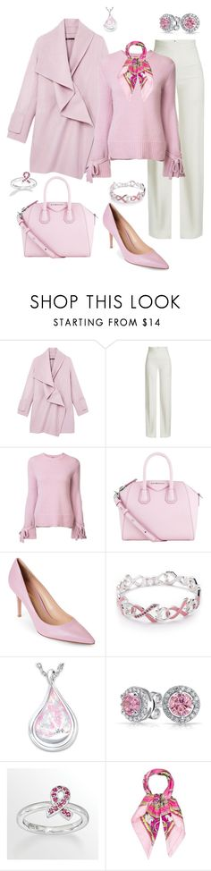 """Breast Cancer Awareness"" by sommer-reign ❤ liked on Polyvore featuring Vince, Brandon Maxwell, ADAM, Givenchy, Gianvito Rossi, Napier, The Bradford Exchange, Bling Jewelry, Stacks and Stones and Hermès"