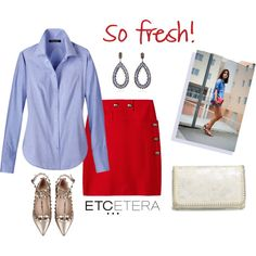 Etcetera: CHAMBRAY shirt with CALIENTE red skirt. by etcetera-nyc on Polyvore featuring Valentino, Chelsea28, Lauren Craft, Etcetera, WorkWear, casuallifestyle, etceteracollection and etceteranyc