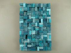 Wood Slice Sculpture - Wooden Slice Sculpture - Teal Wall Sculpture - Wood Wall Art - Wood Wall Hanging - Blue Wood Wall Hanging - pinned by pin4etsy.com
