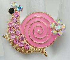 Pink Snail Statement Ring/Rhinestone/Aurora Borealis/Sea