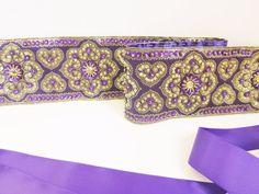 Hand embroidered sash wedding belt sequin satin ribbon stones zari violet golden
