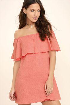0c43b2cb967c65 Slip on the Hello Sunshine Coral Orange Off-the-Shoulder Dress, add a pair  of sunnies, and hit the beach! Textured woven fabric creates a feminine  flounce ...