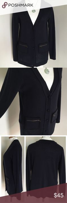 Navy Wool Cardigan w/ Black Silk Trim This beautiful Cardigan is by Nougat London - size 1, which is equivalent to a size Small. In excellent, gently used condition. Looks great with jeans or paired over a dress! Nougat London Sweaters Cardigans