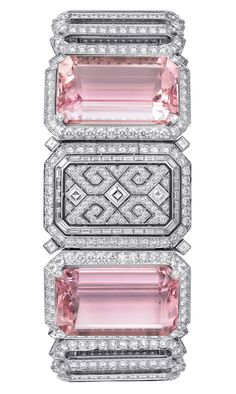 Cartier Urban secret watch - White gold, two octagonal -shaped pink kunzites totaling 91.45 carats, baguette-cut diamonds, square-shaped diamonds
