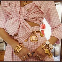 All Chanel everything for our because cult vintage fashion doesn't get any better than millennial pink gingham co-ords. Chanel Vintage, Chanel Pink, Chanel Chanel, Chanel Couture, Vintage Glam, Vintage Style, Chanel Coat, Chanel Outfit, Chanel Runway