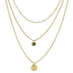 Collier fantaisie 3 rangs en métal doré. Chaîne réglable, fermoir mousqueton. Longueur chaîne : Environ 27cm
