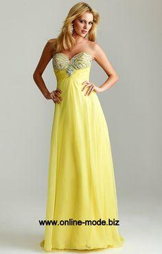 Bodenlanges Abendkleid in Gelb von www.online-mode.biz